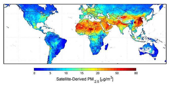 ปริมาณ PM-2.5 ที่วัดได้ระหว่างปีค.ศ. 2000 -2006 ด้วยดาวเทียมของ NASA